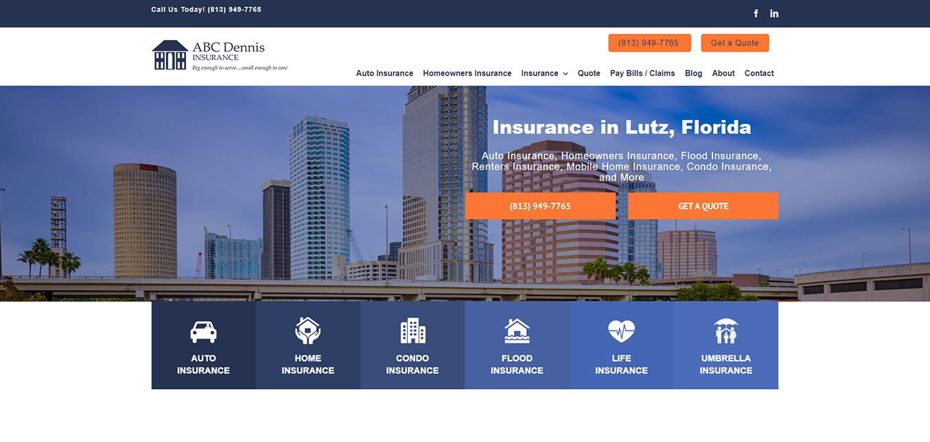 ABCDennisInsurance.com screenshot, insurance agency in Lutz, FL