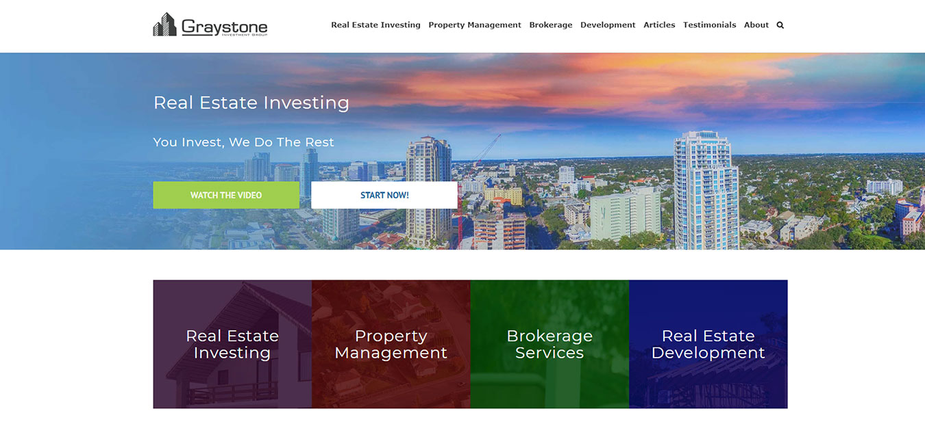 GraystoneIG.com screenshot, real estate company in Tampa, FL