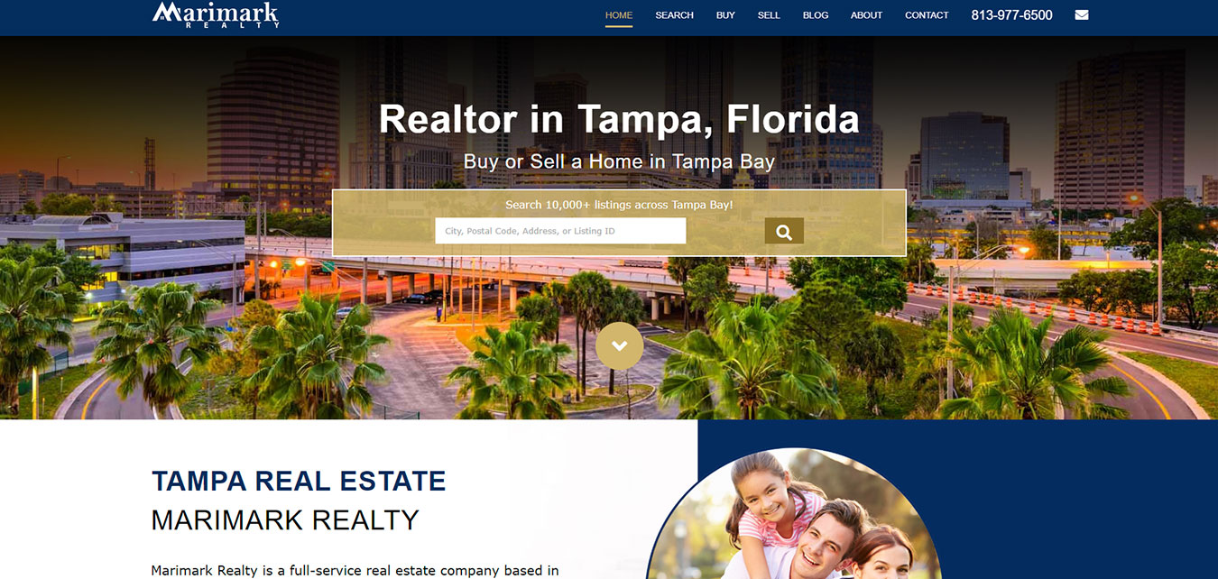 MarimarkRealty.com screenshot, real estate agency in Tampa, FL