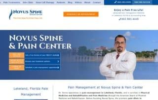 Website screenshot, pain doctor in Lakeland, FL