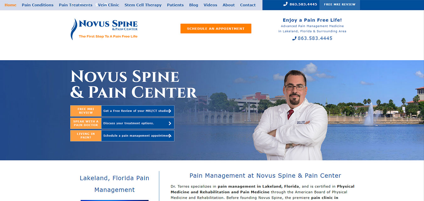 NovusSpineCenter.com screenshot, pain doctor in Lakeland, FL
